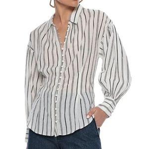 JOIE  Minya gathered striped cotton-blend shirt